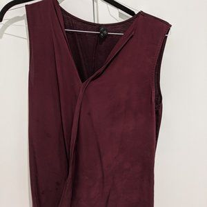 Theory Maroon Silk Shell Shirt